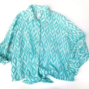 Chico's Tie Waist Ikat Blue/white Shirt Sz 3